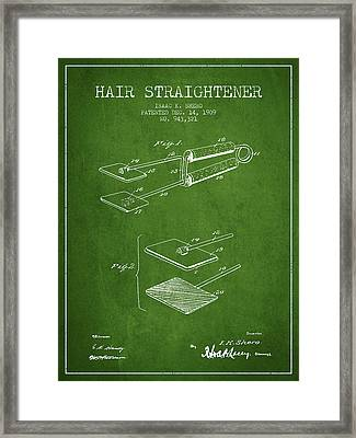 Hair Straightener Patent From 1909 - Green Framed Print by Aged Pixel