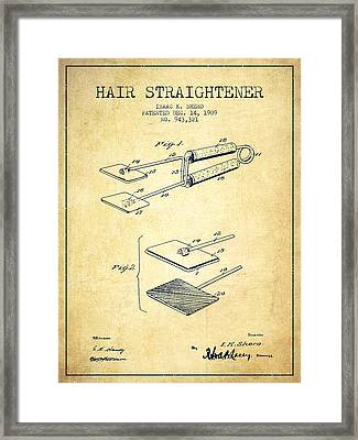 Hair Straightener Patent From 1909 - Vintage Framed Print by Aged Pixel