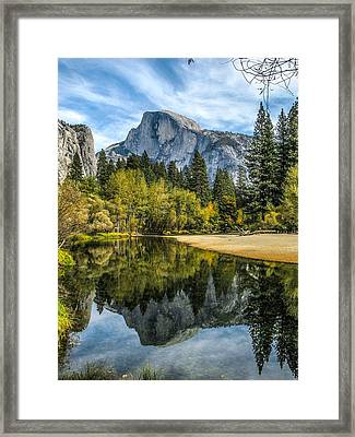 Half Dome Reflected In The Merced River Framed Print by John Haldane