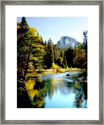 Half Dome Yosemite River Valley Framed Print by Bob and Nadine Johnston