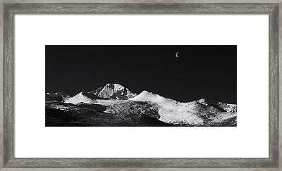 Half Moon Over Longs Peak Framed Print by Darren  White