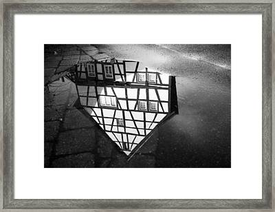 Half-timbered House Water Reflection Black And White Framed Print by Matthias Hauser