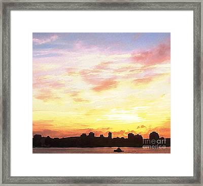 Halifax Nova Scotia Harbour With Tug Framed Print by John Malone JSM Fine Arts