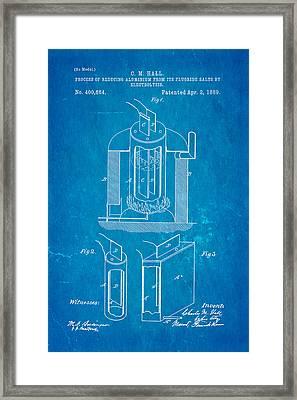 Hall Aluminium Production Patent Art 1889 Blueprint Framed Print by Ian Monk