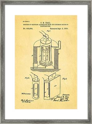 Hall Aluminium Production Patent Art 1889 Framed Print by Ian Monk