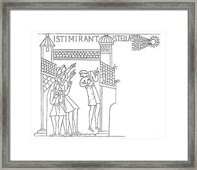 Halley's Comet In 1066 Framed Print by Royal Astronomical Society