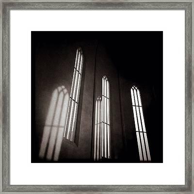 Hallgrimskirkja Windows Framed Print by Dave Bowman