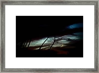 Halloween Moon Over Tucson Desert Framed Print by Jon Van Gilder