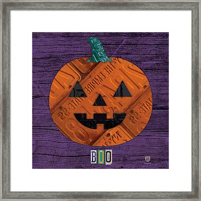 Halloween Pumpkin Holiday Boo License Plate Art Framed Print by Design Turnpike