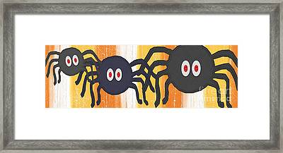 Halloween Spiders Sign Framed Print by Linda Woods