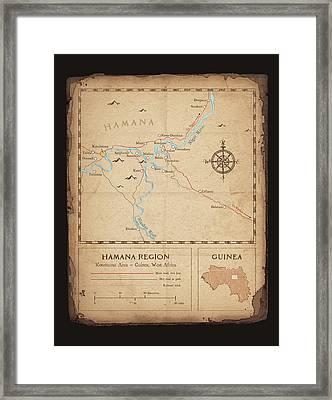 Hamana Region Map Framed Print by Dave Kobrenski