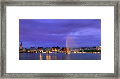 Hamburg At The Blue Hour Framed Print by Henk Meijer Photography