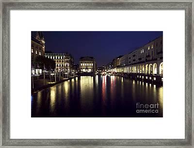 Hamburg Canal Lights Framed Print by John Rizzuto