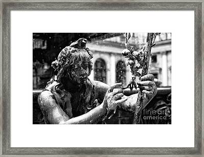 Hamburg Fountain Faerie Mono  Framed Print by John Rizzuto
