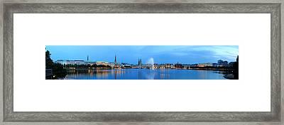 Hamburg Panorama In Blue Framed Print by Marc Huebner
