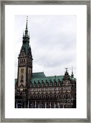 Hamburg Rathaus At Dusk Framed Print by John Rizzuto