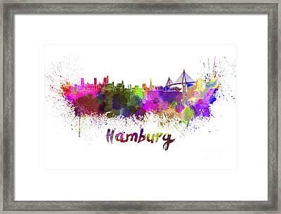 Hamburg Skyline In Watercolor Framed Print by Pablo Romero