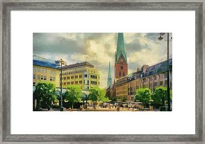 Hamburg Street Scene Framed Print by Jeff Kolker