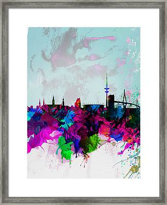 Hamburg Watercolor Skyline Framed Print by Naxart Studio