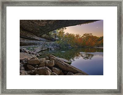 Hamilton Pool Autumn Moonset In The Texas Hill Country Framed Print by Rob Greebon