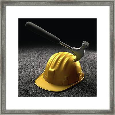 Hammer Hitting A Hard Hat Framed Print by Ktsdesign