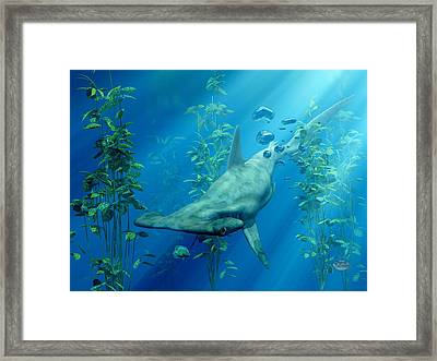 Hammerhead Art Framed Print by Daniel Eskridge