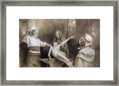 Hammering The Spleen Framed Print by Gaston Vuillier
