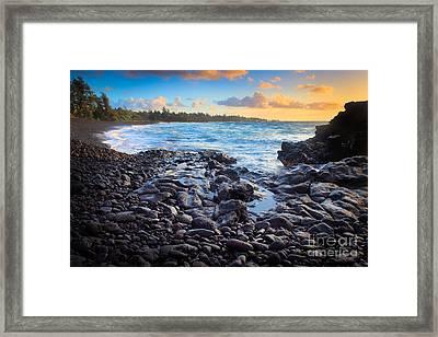 Hana Bay Sunrise Framed Print by Inge Johnsson
