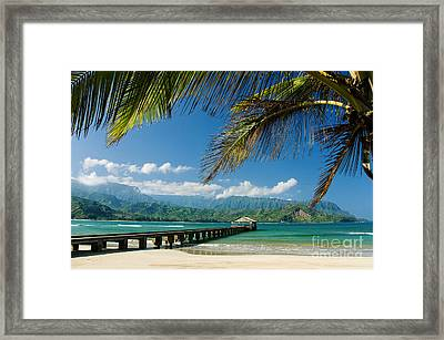 Hanalei Pier And Beach Framed Print by M Swiet Productions