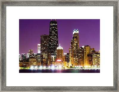 Hancock Building At Night In Chicago Framed Print by Paul Velgos