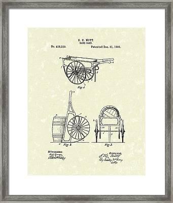 Hand Cart 1889 Patent Art Framed Print by Prior Art Design