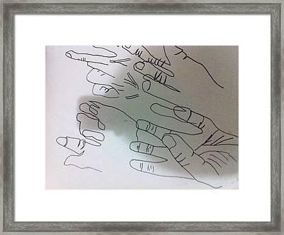 Hand Contour Framed Print by Khoa Luu