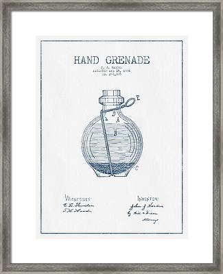 Hand Grenade Patent Drawing From 1884- Blue Ink Framed Print by Aged Pixel