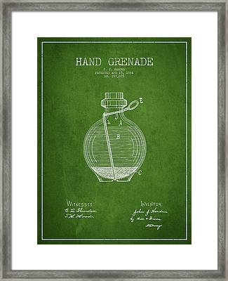 Hand Grenade Patent Drawing From 1884 - Green Framed Print by Aged Pixel
