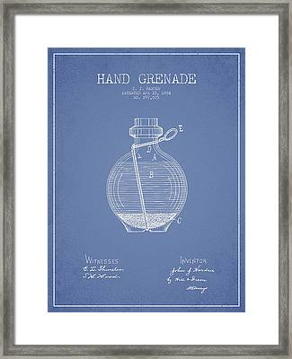 Hand Grenade Patent Drawing From 1884 - Light Blue Framed Print by Aged Pixel