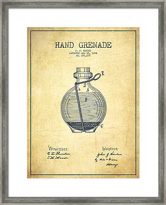 Hand Grenade Patent Drawing From 1884 - Vintage Framed Print by Aged Pixel