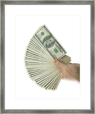 Hand Holding 100 Us Dollar Banknotes Framed Print by Ktsdesign