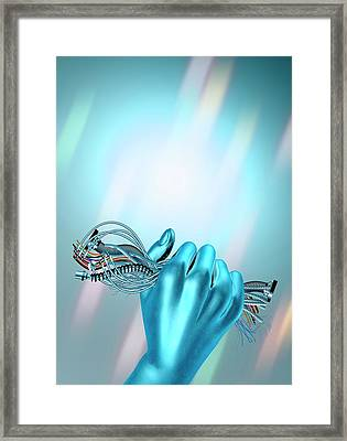 Hand Holding Cables Framed Print by Victor Habbick Visions