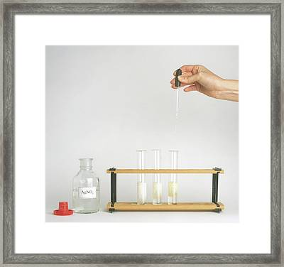 Hand Holding Pipette Above Rack Framed Print by Dorling Kindersley/uig