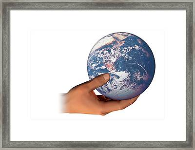 Hand Holding The Earth Framed Print by Carol & Mike Werner