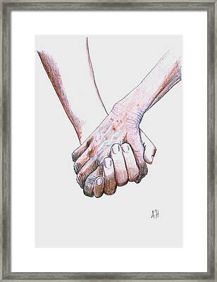 Hand In Hand Framed Print by Amani Al Hajeri