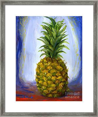 Hand Painted Pineapple Fruit  Framed Print by Lenora  De Lude