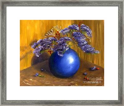 Hand Painted Still Life Blue Vase Purple Flowers Framed Print by Lenora  De Lude