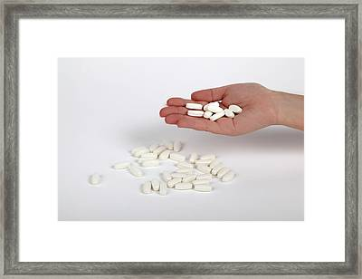 Hand Selects A Pill Framed Print by Photostock-israel