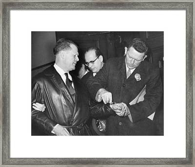 Handcuffs For Jimmy Hoffa Framed Print by Underwood Archives
