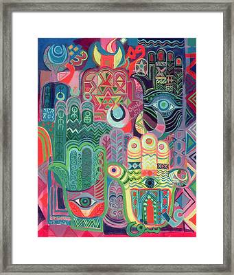 Hands As Amulets II, 1992 Acrylic On Canvas Framed Print by Laila Shawa