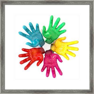 Hands Colorful Circle Reaching Skyward Framed Print by Allan Swart