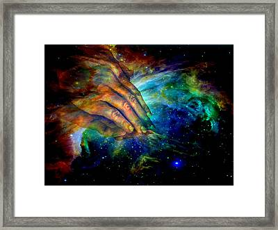Hands Of Creation Framed Print by Evelyn Patrick