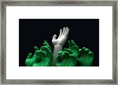 Hands Reaching Skyward Framed Print by Allan Swart