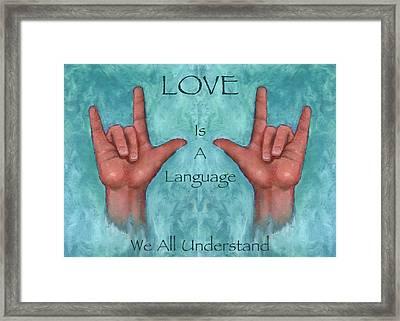 Hands Signing Love Framed Print by Joyce Geleynse